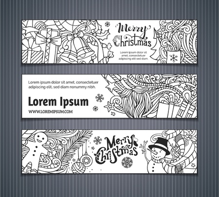 border cartoon: Vector set of doodles Christmas banners. Christmas tree and baubles, Santa sock, hat and beard, mistletoe, gift boxes, snowman, swirls and hand-written text, gingerbread man, sweets, bells and ribbons, stars and cup. There is place for your text on white