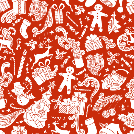 red beard: Boundless Red and White Cartoon Christmas Background. Seamless vector pattern of Christmas object silhouettes. Christmas tree and baubles, Santa sock, Santa hat, Santa beard, mistletoe, sweets, gifts, candy canes, snowman, swirls, gingerbread man, deer, b
