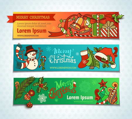 web banner: Vector set of bright Christmas horizontal banners. Cartoon Christmas tree and baubles, Santa sock and hat, mistletoe, gifts, candy canes, snowman and hand-written text, swirls, sweets, bells and ribbons, stars. There is place for your text. Illustration
