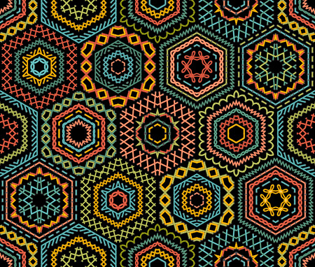 stitches: Embroidery seamless pattern. Vector high detailed stitches. Colourful embroidered hexagons on black background. Ethnic textile boundless background. Illustration