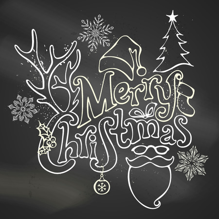 holly: Chalk Merry Christmas Decoration. Christmas ball, hand-written text, holly berry, fir, antlers of a deer, bow, Santa sock, Santa hat, Santa beard and glasses. Chalk outlined objects on blackboard background.