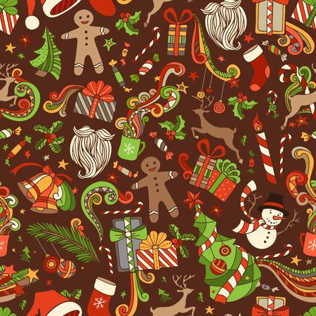 muerdago: Modelo incons�til de la Navidad de la historieta. Vector �rbol de Navidad y adornos, de Santa calcet�n, sombrero de Santa, Santa barba, mu�rdago, regalos, bastones de caramelo, mu�eco de nieve, dulces, remolinos, hombre de pan de jengibre, ciervos, campanas y cintas, estrellas, taza, vela sobre fondo marr�n.