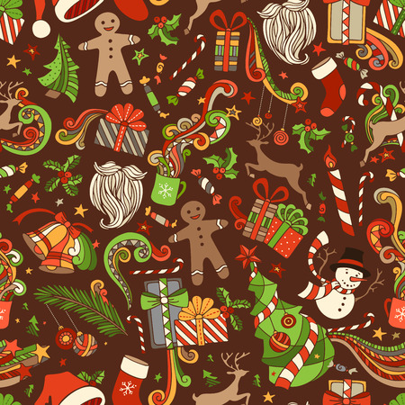 mistletoe: Seamless Cartoon Christmas Pattern. Vector Christmas tree and baubles, Santa sock, Santa hat, Santa beard, mistletoe, gifts, candy canes, snowman, sweets, swirls, gingerbread man, deer, bells and ribbons, stars, cup, candle on brown background. Illustration