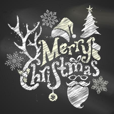 winterberry: Chalk Merry Christmas Design. Hand-written text, holly berry, fir, Christmas ball, antlers of a deer, bow, Santa sock, Santa hat, Santa beard and glasses on blackboard background.