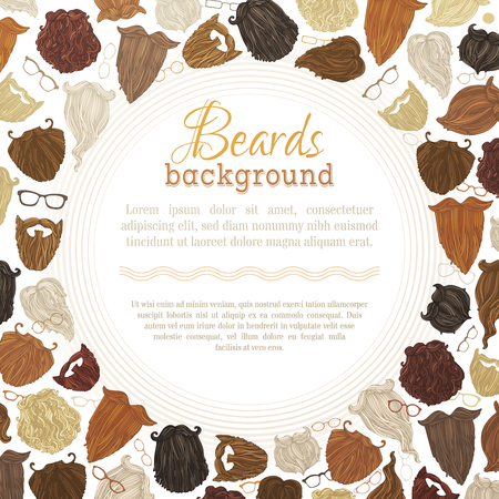 redheaded: Vector background of hipster beards and eyeglasses. Blond, brunet, dark-haired, ginger and grey-haired beards on white background. There is place for your text in the center.