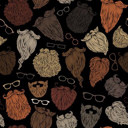 black head and moustache: Seamless pattern of hipster beards and eyeglasses. Blond, brunet, dark-haired, ginger and grey-haired beards on black background. Hand-drawn vector boundless background. Illustration