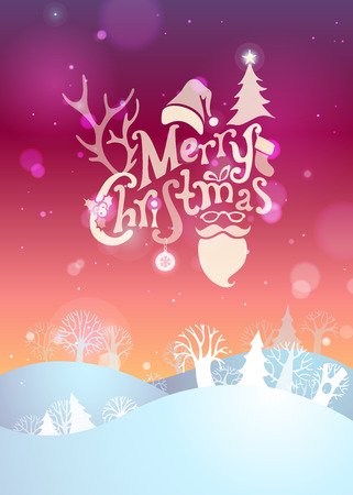 christmas ball: Merry Christmas sunset background. Hand-written text, Santa sock, hat and beard and glasses, holly berry, fir, snowflakes, Christmas ball, antlers of a deer, trees on bright sunset winter landscape. Illustration
