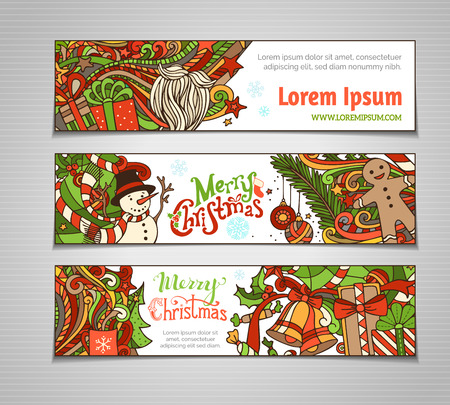 new year tree: Vector set of colorful Christmas banners. Christmas tree and baubles, Santa sock, hat and beard, mistletoe, gift boxes, snowman, swirls and hand-written text, gingerbread man, sweets, bells and ribbons, stars and cup. There is place for your text on white