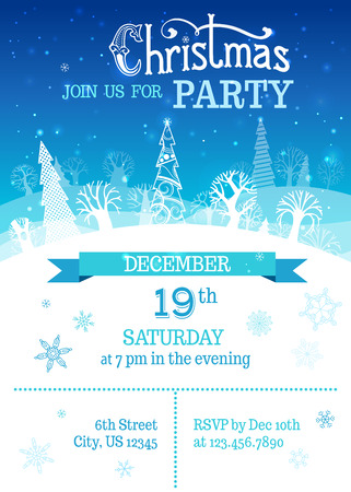 blue snowflakes: Merry Christmas party template. Snowflakes, hand-written text, ornate firs and deciduous trees on blue winter landscape. There are places for your text on white area and in the sky.