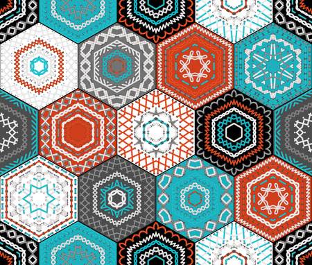 coloured background: Coloured embroidered hexagons background. Seamless pattern. Retro ethnic design. Vector high detailed stitches.