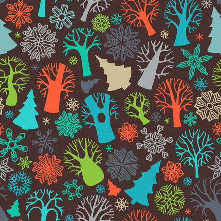 deciduous forest: Seamless festive colorful forest pattern. Bright deciduous trees and firs, snowflakes on dark background. Boundless texture can be used for web page backgrounds, wallpapers, wrapping papers, invitation and congratulations.