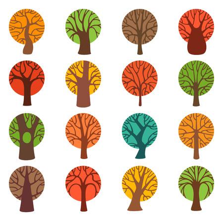 ocas: Conjunto de iconos de colores del árbol del otoño. Varios árboles redondos del vector aislados sobre fondo blanco.