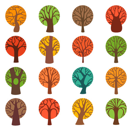 hollow: Set of colourful autumn tree icons. Various vector round trees isolated on white background. Illustration