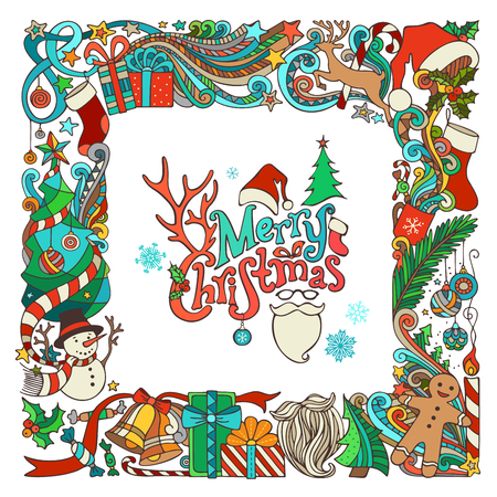 Ornate festive frame of Christmas objects. Christmas tree and Christmas balls, gifts and bows, snowman, gingerbread man, deer, bells and ribbons, stars, cup, candle, Santa sock, Santa hat, Santa beard and glasses, holly berries, hand-written text. There i