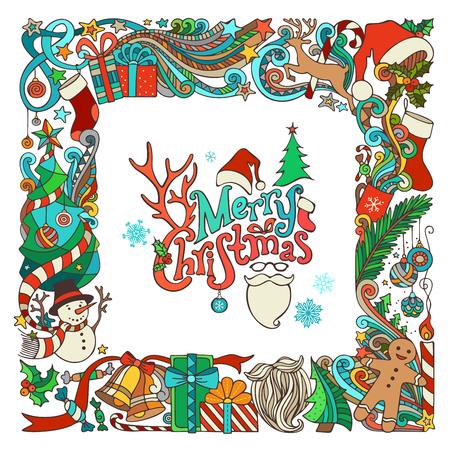Sierlijke feestelijk frame Kerst objecten. Kerstboom en kerstballen, geschenken en bogen, sneeuwman, peperkoek man, herten, klokken en linten, sterren, beker, kaars, Kerstman sok, kerstmuts, Santa baard en een bril, hulst bessen, met de hand geschreven tekst. Daar ik