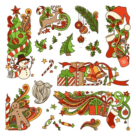 Vector set of colorful Christmas ornaments isolated on white background. Christmas tree and baubles, Santa sock, hat and beard, holly berries, gifts, candy canes, sweets, snowman, swirls, gingerbread man, deer, bells and ribbons, stars, cup, candle. Ilustração