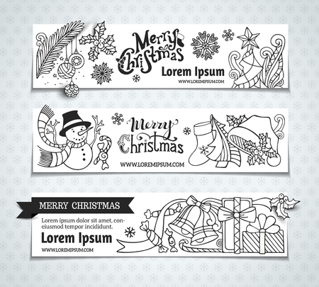 winterberry: Vector set of Christmas horizontal banners. Cartoon Christmas tree and baubles, Santa sock and hat, mistletoe, gifts, candy canes, snowman, swirls, sweets, bells and ribbons, stars and hand-written text. There is place for your text on white area. Black a Illustration