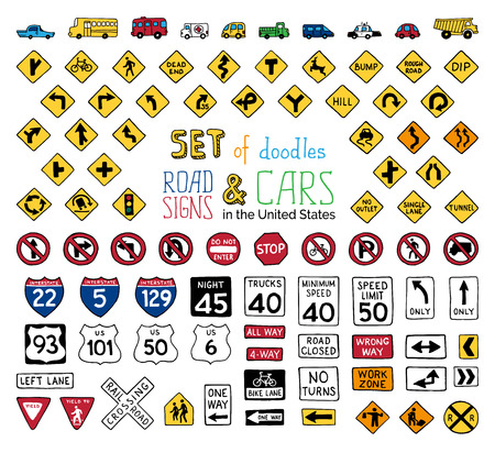 Vector set of doodles road signs and vehicles. Hand-drawn traffic sign icons in the United States isolated on white background. Illustration