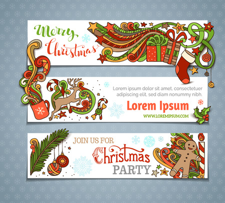 white candle: Vector set of Christmas banners. Christmas tree and baubles, Santa sock, hand-written text, holly berries, gifts, candle, candy canes, swirls, gingerbread man, deer, sweets, ribbons, stars, cup, candle. There is place for your text on white area.