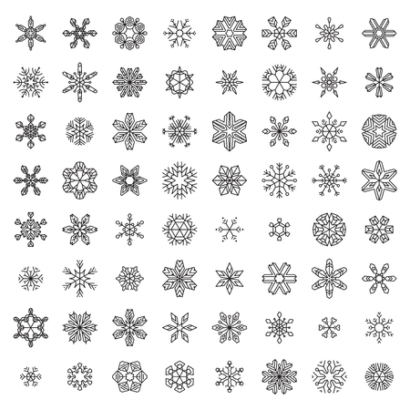ice cold: Vector Set of Outlined Snowflakes. Vintage linear snowflakes isolated on white background. Illustration