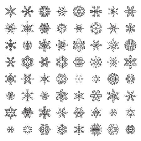 Vector Set van Overzichts Sneeuwvlokken. Vintage lineaire sneeuwvlokken op een witte achtergrond. Stock Illustratie