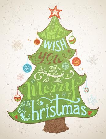 Le deseamos una Feliz Navidad. Feliz Navidad letras dentro del árbol de Navidad. Manuscrita texto, baya del acebo, bolas de Navidad, copos de nieve, estrellas en la parte superior del árbol de Navidad.