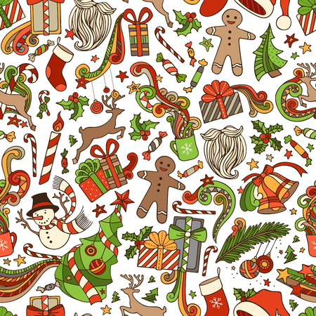 boundless: Vector Seamless Cartoon Christmas Pattern. Christmas tree and Christmas baubles, gifts, candy canes, snowman, swirls, gingerbread man, deer, bells and ribbons, stars, sweets, cup, candle, Santa sock, Santa hat, Santa beard, holly berries on boundless back