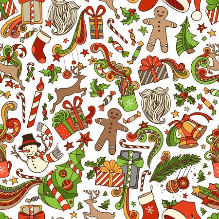winter trees: Vector Seamless Cartoon Christmas Pattern. Christmas tree and Christmas baubles, gifts, candy canes, snowman, swirls, gingerbread man, deer, bells and ribbons, stars, sweets, cup, candle, Santa sock, Santa hat, Santa beard, holly berries on boundless back