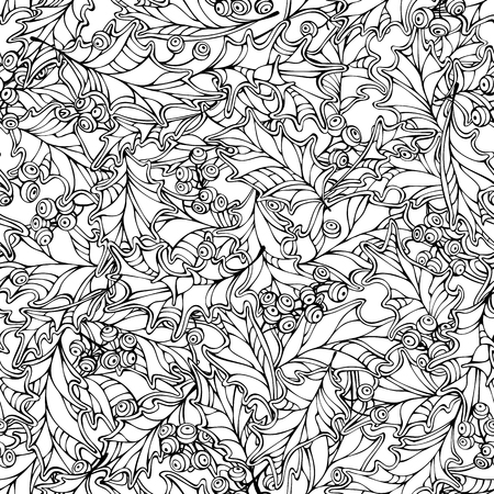 boundless: Christmas holly berries seamless pattern. Black and white traditional Christmas decoration. Boundless background can be used for web page backgrounds, wallpapers, wrapping papers, invitation and congratulations.