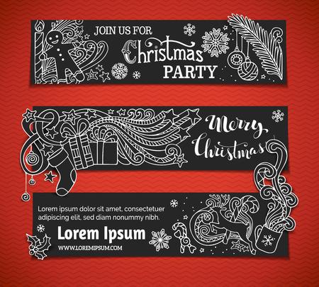 arboles blanco y negro: Conjunto de banderas en blanco y negro de la Navidad. Árbol de Navidad y adornos, Santa calcetín, texto escrito a mano, bayas del acebo, regalos, velas, bastones de caramelo, remolinos, hombre de pan de jengibre, ciervos, dulces, cintas, estrellas, taza, vela. No hay lugar para el texto en el área de color negro. Vectores