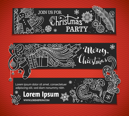 white party: Set of black and white Christmas banners. Christmas tree and baubles, Santa sock, hand-written text, holly berries, gifts, candle, candy canes, swirls, gingerbread man, deer, sweets, ribbons, stars, cup, candle. There is place for your text on black area.