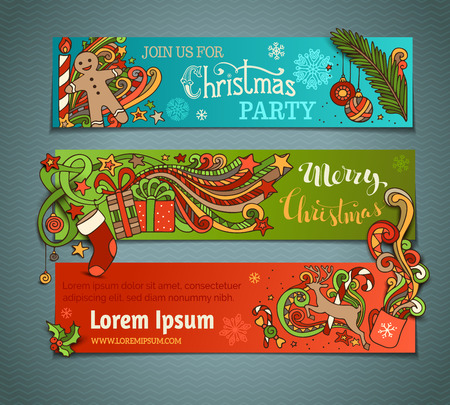 star border: Vector set of colorful Christmas banners. Christmas tree and baubles, Santa sock, hat and beard, holly berries, gift boxes, snowman, swirls and hand-written text, gingerbread man, sweets, bells and ribbons, snowflakes, candle, stars and cup. There is plac