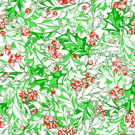 winterberry: Christmas holly seamless pattern. Vector traditional Christmas decoration. Seamless pattern can be used for web page backgrounds, wallpapers, wrapping papers, invitation and congratulations.
