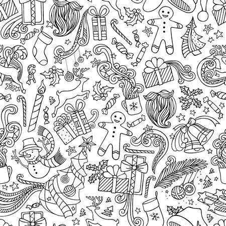 Seamless Doodles Christmas Pattern. Hand-drawn cartoon vector boundless background. Christmas tree and baubles, Santa sock, Santa hat, Santa beard, mistletoe, gifts, candy canes, snowman, swirls, gingerbread man, deer, bells and ribbons, stars, cup, candl Illustration