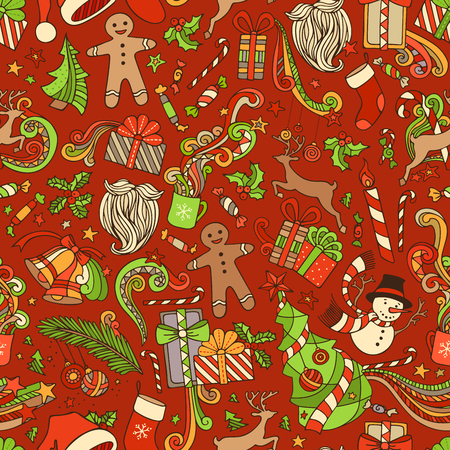 boundless: Seamless Colorful Christmas Pattern. Christmas tree and Christmas baubles, gifts, candy canes, snowman, swirls, gingerbread man, deer, bells and ribbons, stars, cup, candle, Santa sock, Santa hat, Santa beard, holly berries on boundless wallpaper.