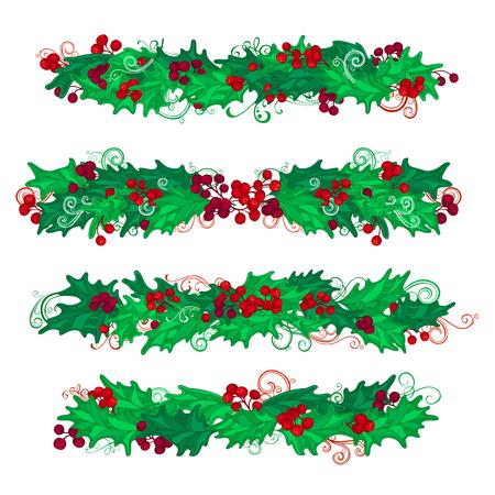 Conjunto De Navidad Bayas Del Acebo Elementos De Diseño. Esquinas ...