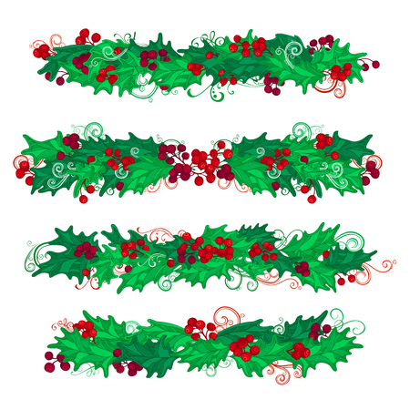 winterberry: Vector set of holly berries design elements. Christmas page decorations and dividers isolated on white background.