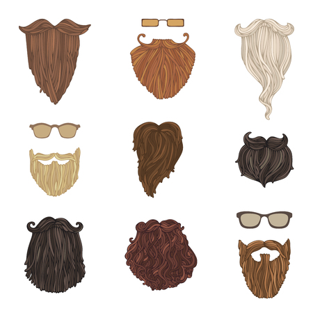 goatee: Hipster fashion man beards and eyeglasses. Hand-drawn vector blond, brunet, dark-haired, ginger and grey-haired beards isolated on white background.