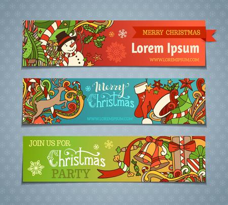 ベクターは、漫画クリスマス バナーのセット。カラフルなクリスマス ツリーとつまらない、サンタの靴下と帽子、ヒイラギの果実、ギフト、キャン