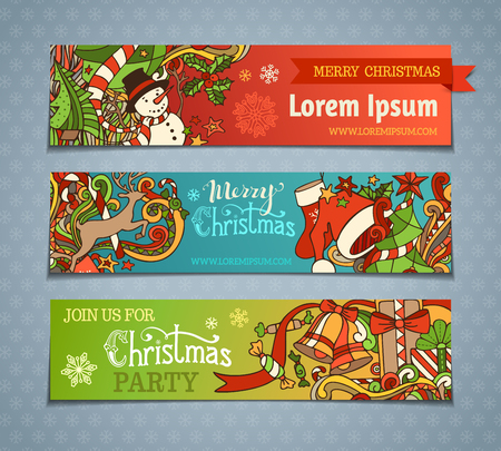 Vector set of cartoon Christmas banners. Colorful Christmas tree and baubles, Santa sock and hat, holly berries, gifts, candy canes, snowman, snowflakes, swirls, deer, sweets, bells and ribbons, stars and hand-written text. There is place for your text. Vettoriali