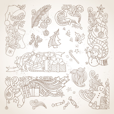 ornament: Vector set of sepia hand-drawn Christmas ornaments. Vintage Christmas tree and baubles, Santa sock, hat and beard, holly berries, gifts, candy canes, sweets, snowman, swirls, gingerbread man, deer, bells and ribbons, stars, cup, candle. Illustration