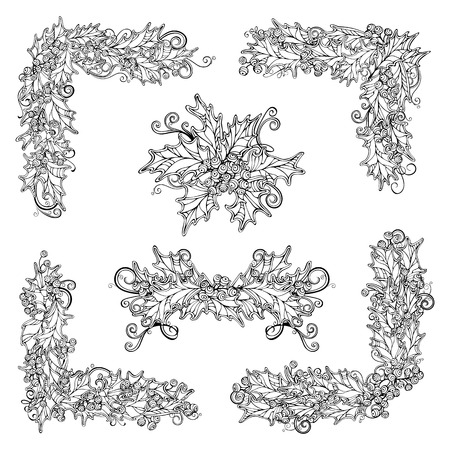 winterberry: Vector set of black and white holly berries design elements. Christmas linear corners, page decorations and dividers isolated on white background. Can be used for your Christmas invitations or congratulations.