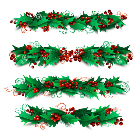 winterberry: Set of holly berries page decorations and dividers. Vector Christmas design elements isolated on white background.