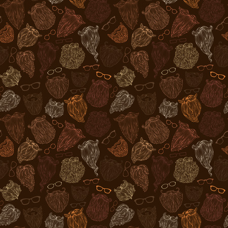 Seamless pattern of fashion man beards and eyeglasses. Blond, brunet, dark-haired, ginger and grey-haired beards on dark background. Hand-drawn vector boundless background.