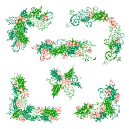 bordure de page: Ensemble de houx page des baies décorations et diviseurs. Noël éléments de conception cru isolé sur fond blanc. Peut être utilisé pour vos invitations de Noël ou félicitations.