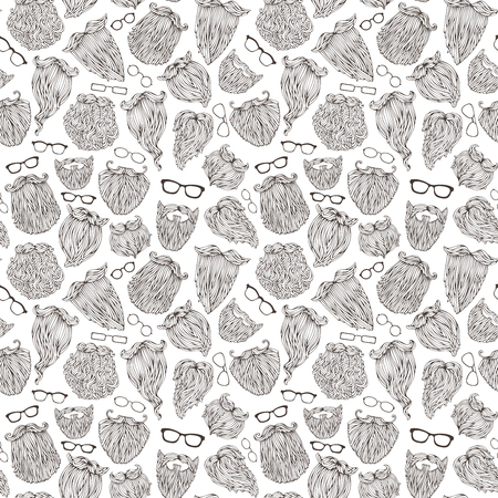 Seamless pattern of doodles beards and eyeglasses. Vector sketch boundless background. Black and white hand-drawn illustration.