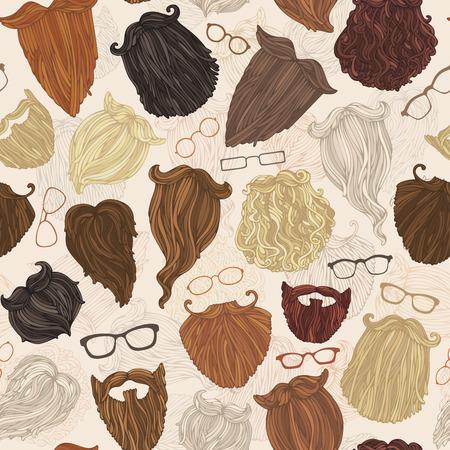Seamless pattern of hipster beards and eyeglasses. Blond, brunet, dark-haired, ginger, grey-haired beards and various eyeglasses on light background.