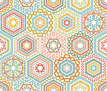 boundless: Embroidery seamless hexagons pattern. Vector high detailed stitches. Colourful ethnic textile boundless background.