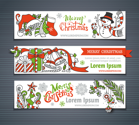winterberry: Vector set of red, green and white Christmas horizontal banners. Cartoon Christmas tree and baubles, Santa sock and hat, mistletoe, gifts, candy canes, snowman and hand-written text, swirls, sweets, bells and ribbons, stars. There is place for your text.