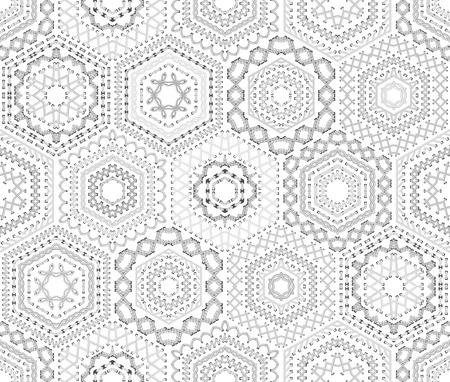 Modello bianco senza saldatura ricamo. Vector alti punti dettagliate. esagoni tessili etnica senza limiti. Archivio Fotografico - 47935348